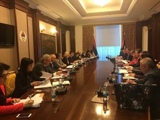 Održan sastanak predsjednice Vlade Republike Srpske, Željke Cvijanović, sa predstavnicima Saveza sindikata i Unije udruženja poslodavaca (Foto RTRS )