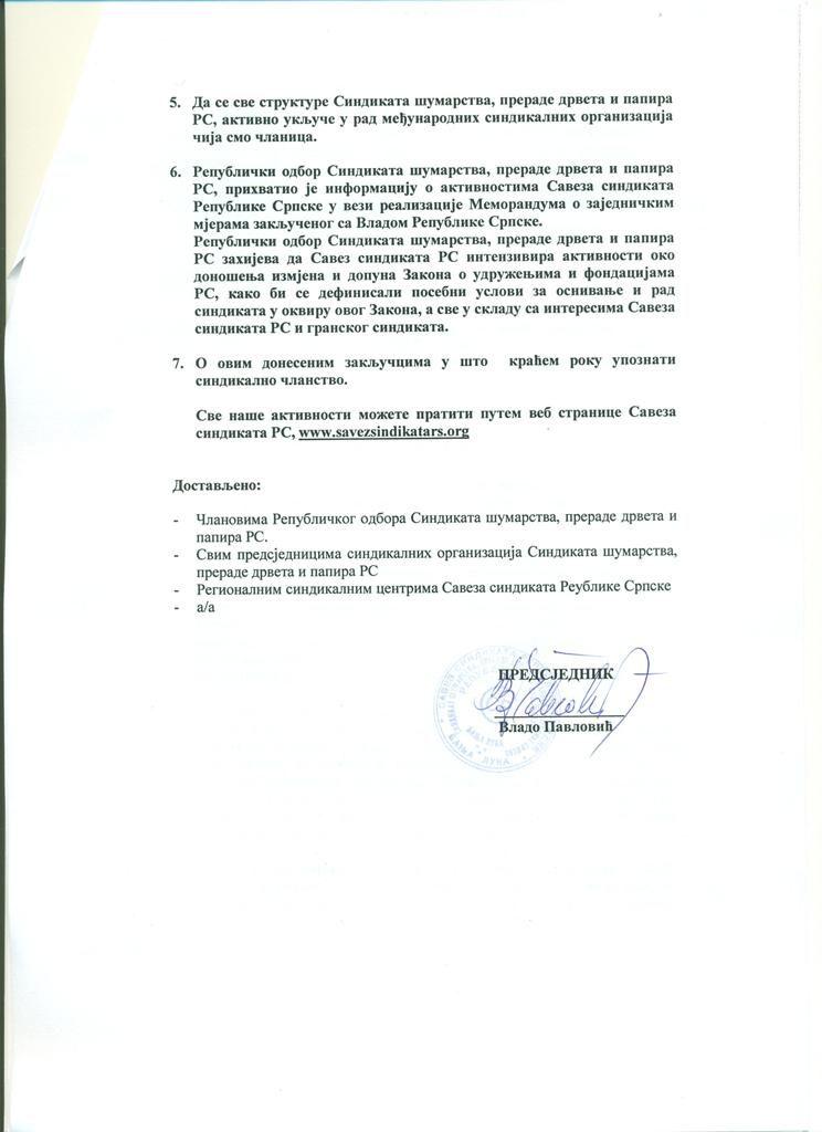 Zaključci sa 7. sjednice Republičkog odbora Sindikata šumarstva, prerade drveta i papira RS, strana 2