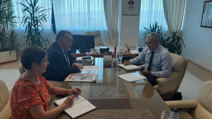 Sastanak predsjednika Sindikata saobraćaja i veza Republike Srpske Nebojše Đokića sa ministrom Neđom Trninićem