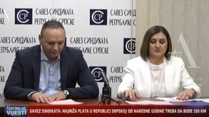 Savez Sindikata: Najniža plata u Srpskoj treba da bude 550 KM